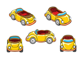 Set of racing car of various angles. Cartoon vector illustration.