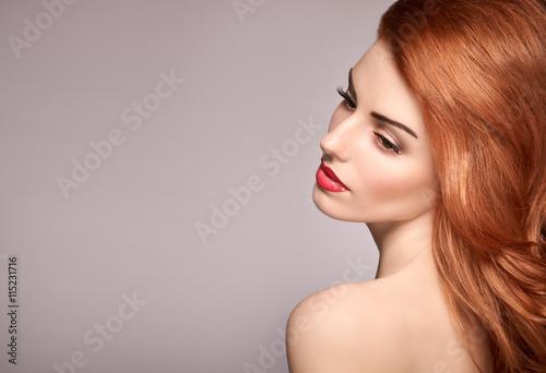 Fashion Natural Makeup. Beauty portrait nude Model woman head. Redhead Model sexy girl, Hairstyle, Fashion Makeup. Shiny wavy hair, fashion Eyelashes.