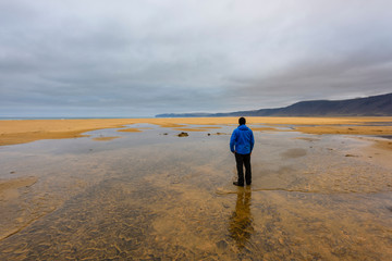 Man standing in pool, looking at view, rear view, Westfjords, Iceland