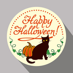 """Round button with black cat, flying bats, pumpkin and hand drawn text """"Happy Halloween!"""" Original design element for greeting cards, invitations, prints. Vector clip art."""