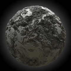 3d rendering spherical abstract object with strong displacement on black backgeound. High Quality 3D Render.