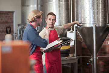 Colleagues in microbrewery discussing conical tank