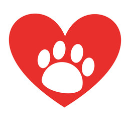 animal footprint in heart  isolated icon design