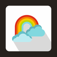Rainbow and clouds icon in flat style on a white background