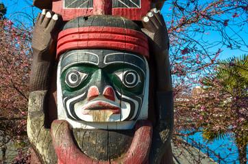 Old Wooden Carved Totem Poles