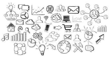 Hand drawn web icons set