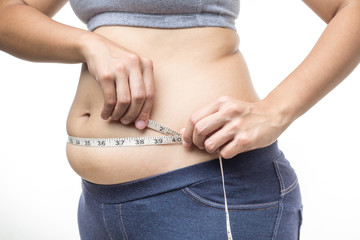 overweight woman with tape measure around waist