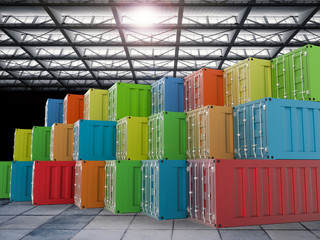 colorful containers in warehouse