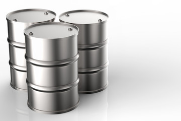 group of metal oil barrels