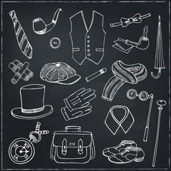 Gentleman vintage accessories doodle set.