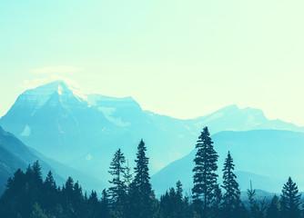Aluminium Prints Blue sky Mt.Robson