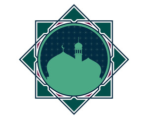 Mosque silhouette with frame V2