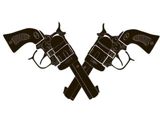 Black and White Crossed Gun - Vectors art