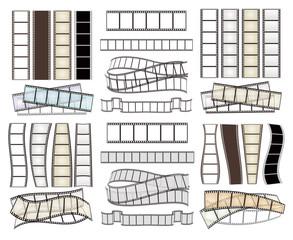 set of empty film strips on white. vector illustration