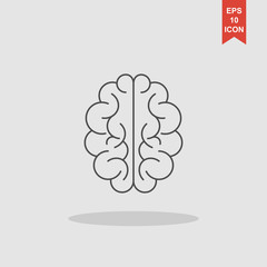 Brain icon. Flat style illustration.