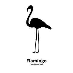 Vector illustration of a silhouette of a flamingo