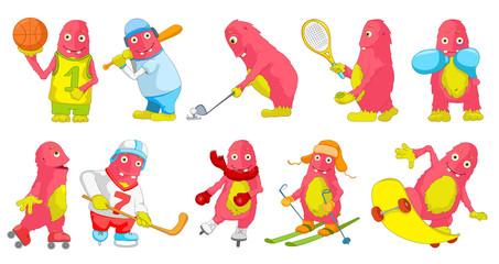 Vector set of pink monsters sport cartoon illustrations.