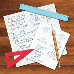 Math background with copybook paper, rulers and pencil