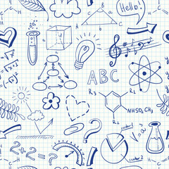 Education doodle seamless pattern with science symbols