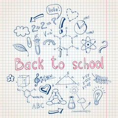 Education back to school doodle background
