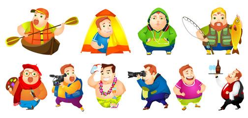 Vector set of cheerful fat man illustrations.