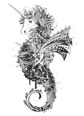 fantasievolles Fabelwesen-Einhorn und Seepferdchen-