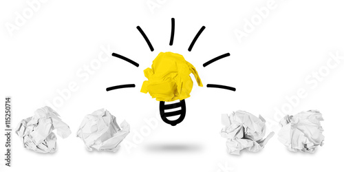 brainstorming idea concept row of white paper snarl with light bulb ...