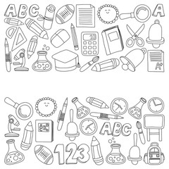 Vector doodle set of education symbols Back to school