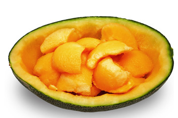 Cantaloupe health benefits isolated white background
