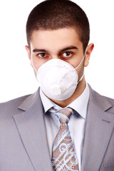 man in white respirator