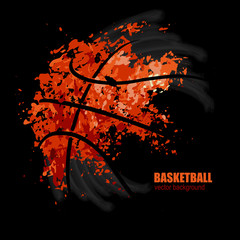 vector drawing of a basketball on a black background, design for basketball game, grunge background
