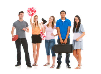 Teens: Group of Teen Students with Various Hobbies