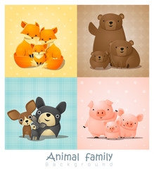 Set of cute animal family portrait , vector , illustration