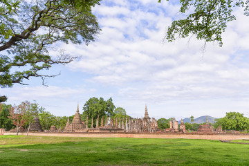 The Sukhothai world heritage,the ancient temple at the Sukhothai historical park.