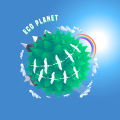 Little planet 3d vector illustration