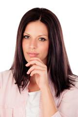 Pensive woman having an idea