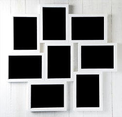 Nine Blank space on Photo frame set on wall