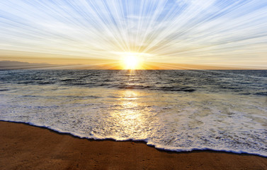 Wall Mural - Ocean Sunset Sun Rays