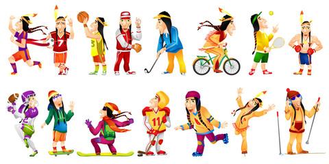 Vector set of american indians sport illustrations