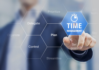 Concept about time management training in business to become successful