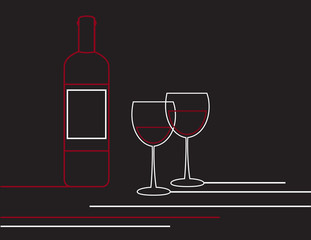 Wine bottle and glasses linear design vector.
