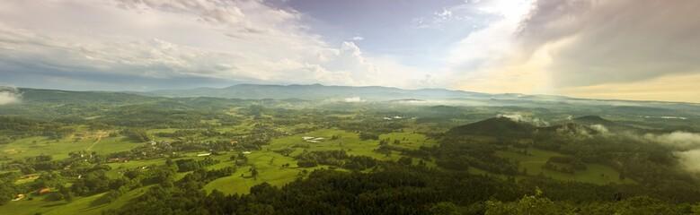 Summer aerial panorama of Kaczawskie, Rudawy Janowickie and Karkonosze Mountains in Poland