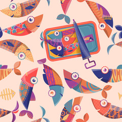 Can of sardines and multi-colored decorated fishes. Seamless background pattern.