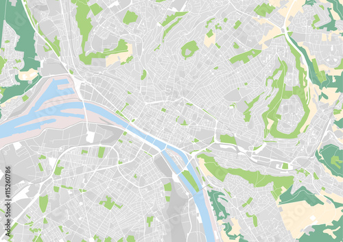 vector city map of Rouen, France\