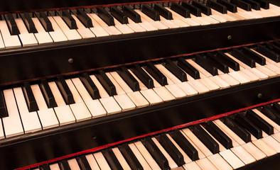 Old keyboard manuals of a church organ