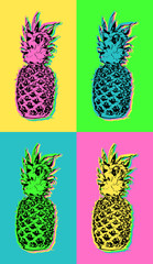 Pop art design with colorful summer pineapple