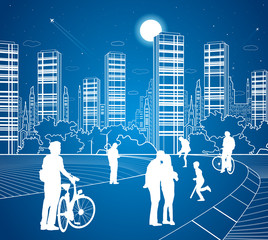 City scene, people walk on the street, city's skyline on background, street life, night town, vector design art