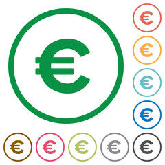 Euro sign outlined flat icons