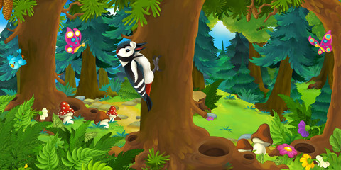 Cartoon scene with happy woodpecker on the tree - in the forest - illustration for children
