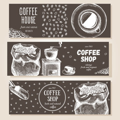 Banner set. Vector illustration in sketch style. Hand drawn coffee vertical banners. Line drawing